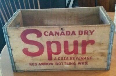 SCARCE Vintage Canada Dry Spur Cola Soda Wood Crate