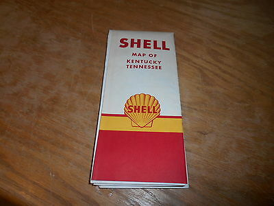 Vintage 60's Shell oil-gasoline folding map-Kentucky,Tennessee
