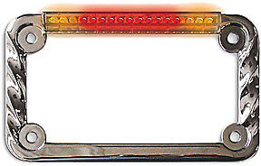 Sdc Led License Plate Frame Twisted Chrome W/Turn Signals 02602