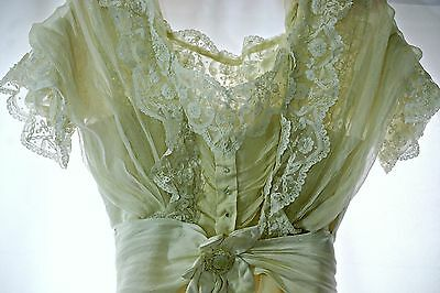 Antique Edwardian 1900s dress, silk, Brussels lace,wedding, great condition, S