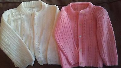 2 Vintage Children's Sweaters~ 1970's ~Sears~Pink/White~ size 2-3