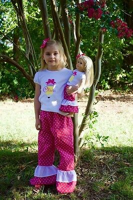 Handmade Girls Embroidered Back To School Custom Personalized Shirt And Bow