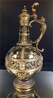 French Wine Carafe / Ewer--Neo-Classical--Unmarked Metal--Gilt--Green Glass--BIN