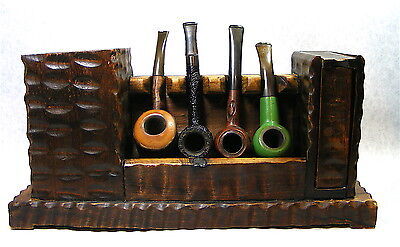 Unique Antique Vintage Hand Made Wood Pipe Holder with 4 misc.Pipes
