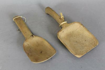 Two Early 19Th Century Native American Maple Scoops In Great Color And Patina