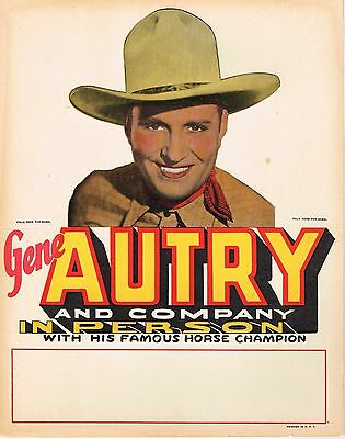 Original Gene Autry Advertising Sign Cardboard Cowboy C1950 Standee Die Cut
