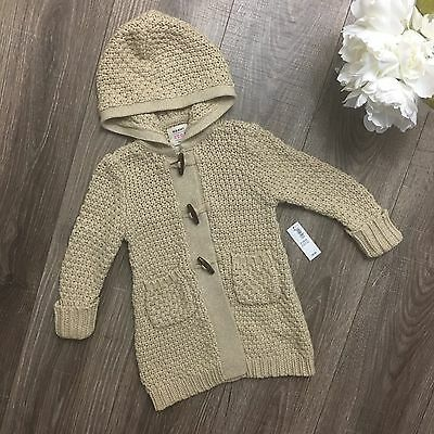 NWT Toddler Girls Old Navy Long Knit Hooded Sweater Toggle Clasps 2t Tan Beige