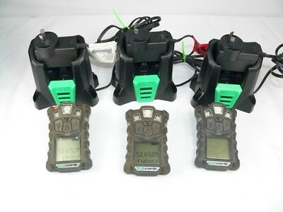 Three MSA Altair 4x Personal Gas Monitors (need sensor replacement )