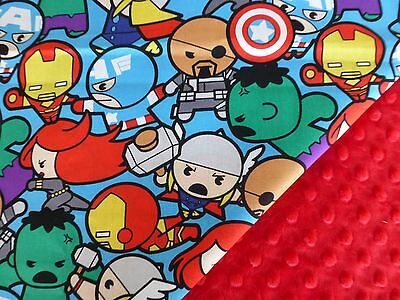 Marvel Avengers Kawaii*Spiderman*Cpt America*Thor fabric/Red Minky Baby Blanket