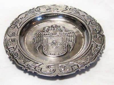 """VTG City of LIMA Peru Coat of Arms Sterling Silver Souvenir Plate by SIAM 4.75"""""""