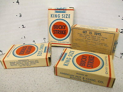 LUCKY STRIKE candy cigarettes (1 box) 1950s premium trading card Harvard CLEAN!