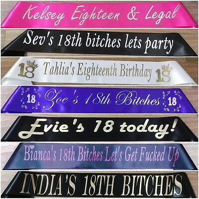 18th Birthday - Personalised Party Sash - Any Name - Any Wording - 20 Colours
