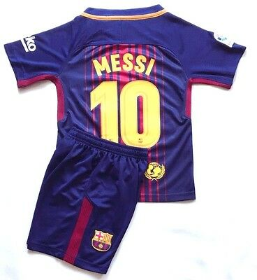New Season 2018 Kids Soccer Jersey Barcelona Home #10 Messi Kit Top+Short Set