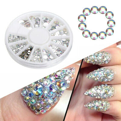 300pcs 3D Mixed Glitter Crystal Rhinestones Gems Nail Art DIY Decoration Wheel