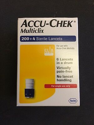 Accu-Chek Multiclix - 200 + 4 Sterile Lancets - ***brand New***