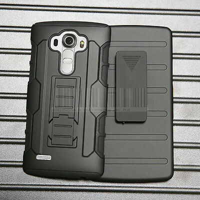 Armor Shockproof Hybrid Rugged Rubber Hard Holster Phone Case Cover For LG G4