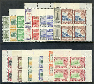 St Kitts-Nevis 1954 QEII set complete in blocks of four superb MNH. SG 106a-118.