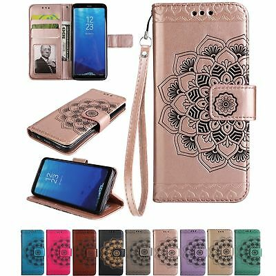 Luxury PU Leather Wallet Case Flower Magnetic Flip Cover For Samsung Galaxy S