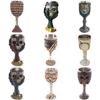 Halloween 3D Gothic Skull Goblet Claw Warrior Unicorn Stainless Steel Wine Cup