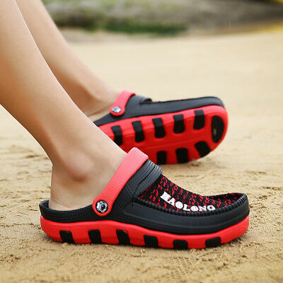 Men Summer Beach Mesh Hollow Out Slippers Breathable Sandals Soft  Home Shoes