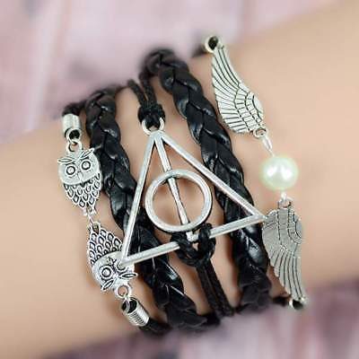 Leather Bracelet Harry Potter Deathly Hollows Inlimmeted Owl Angel Wing Charms