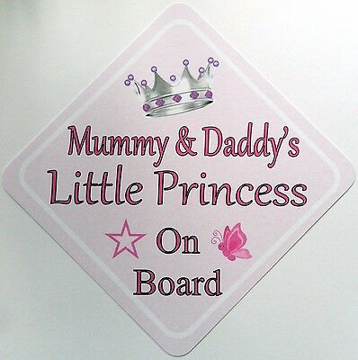 Handmade Mummy & Daddy's Little Princess Baby on Board Car Sign ~ Pink