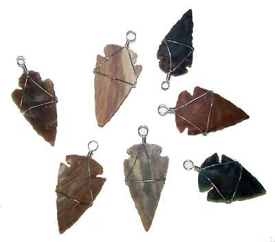 24 PIECES ASST BULK LOT OF WIRE WRAPPED STONE ARROWHEAD PENDANTS new arrow heads