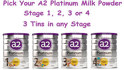 3 x 900g A2 Platinum Baby Infant Milk Formula Stage 1 Stage 2 Stage 3 Stage 4