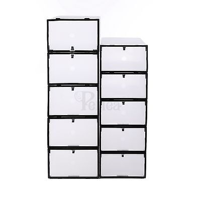 Periea Front Opening Plastic Shoe Boxes 4 Sizes Underbed Storage Clear Black