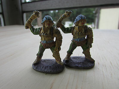 Vintage Lead Pewter Miniatures Two Soldiers Painted War Games D&D Ral Partha?