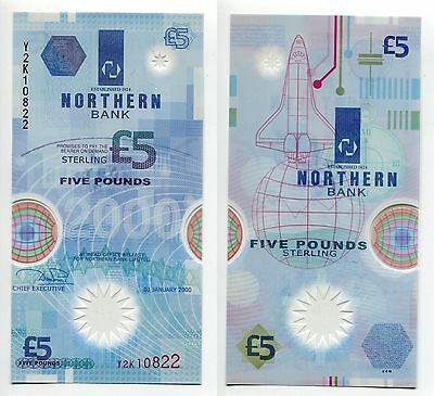 5 Pounds Irland 1.1.2000 unc Polymer, Pick 203b
