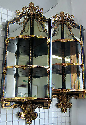 Pair of Victorian Ebonised and Gilt Hanging Corner Shelves. 162cm - 56cm