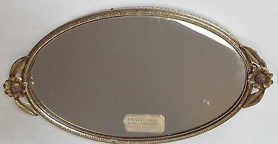 Vintage Oval Gold Metal Vanity Mirror Tray Hollywood Regency