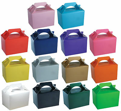 50 Party Boxes - Choose From 14 Colours - Lunch Meal Gift Bag Toy Food Happy