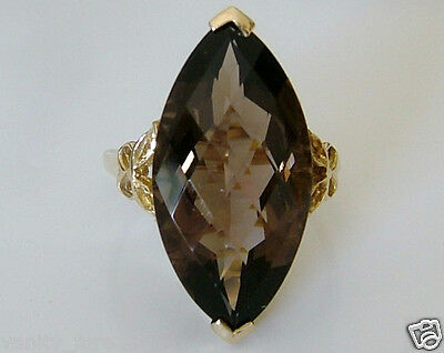 Beautiful 9ct Gold Smoky Quartz Cocktail Ring Size S
