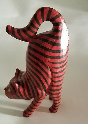 Folk Art Red Standing Cat Figurine 9.5 Inches Tall