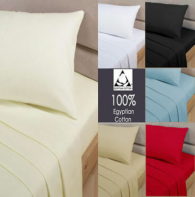 100% Egyptian Cotton 400 Thread Count Fitted, Flat, Valance, 4Pcs Duvet Set