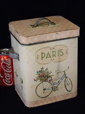 Vtg Paris Farmhouse Chic French Country Kitchen Tin Metal Canister Storage Box