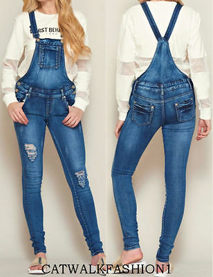 New Womens Ladies Denim Distressed Ripped Dungaree Jeans D6Overall Jumpsuit