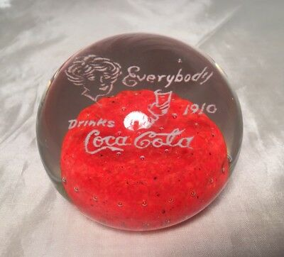 "EX RARE Antique ""Everybody Drinks Coca Cola 1910"" Coke Red Glass Paperweight GVC"