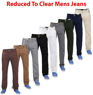 Mens Chino Jeans Regular Fit Cotton Rich Casual Trousers Stretchable Pants
