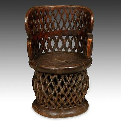 Vintage Wood Chair Throne Bamileke Fon Spider Cameroon W. Africa 20Th C