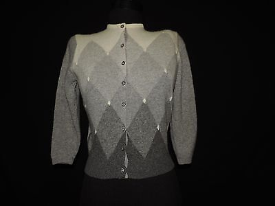 Vintage 1950s Ballantyne of Peebles Gray Argyle Cashmere Cardigan Sweater Small