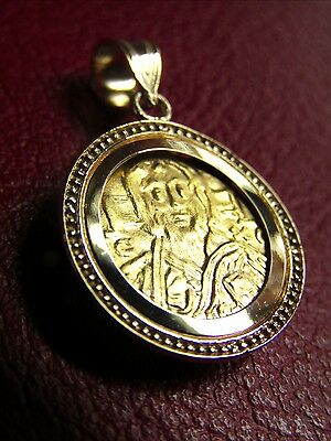 Christ first Byzantine coin icon Solid 22 Karat Gold Pendant 14K Dot Bezel