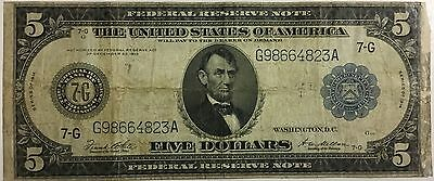 1914 $5 Large Size Federal Reserve Note 7-G Chicago