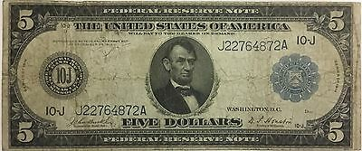 1914 $5 Large Size Federal Reserve Note 10-J Kansas City