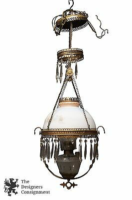 Antique Hurricane Oil Lamp Converted Chandelier Pierced Brass W/ Drop Crystals