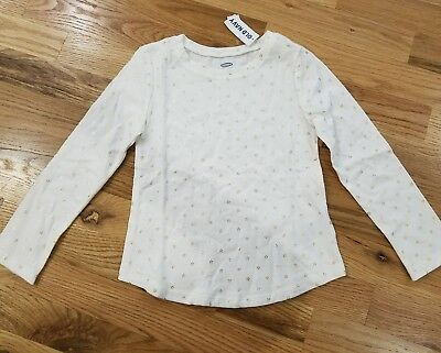 New Old Navy's Girls White Long Sleeve. Size 5T/5A.