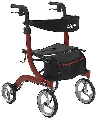NITRO Euro Style Red Rollator Rolling Walker with Seat RTL10266 Drive Medical