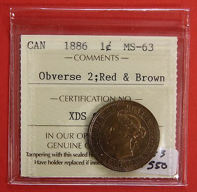 1886 Obverse 2 Canada Large One Cent Penny 533 - ICCS MS-63 Red & Brown
